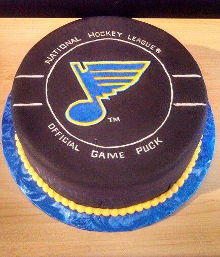 St. Louis Blues Hockey Puck Cake