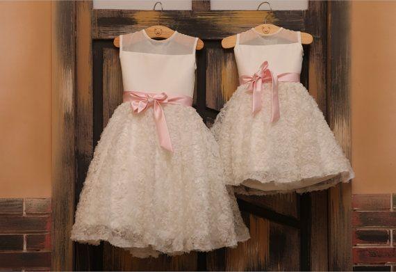 Ivory Rosette Chiffon Flower Girl Dress for Wedding Baby Girl dress with Pink Sash on Etsy, $45.99
