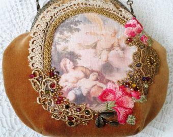 Bohemain bag purse Shabby Chic Cross Body Tote Bag, inspiration Baroque era,antique textile art by shabbyromanticart. Explore more products on http://shabbyromanticart.etsy.com