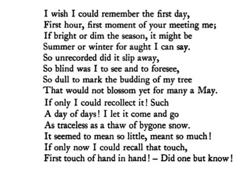 "Christina Rossetti, ""The First Day"""
