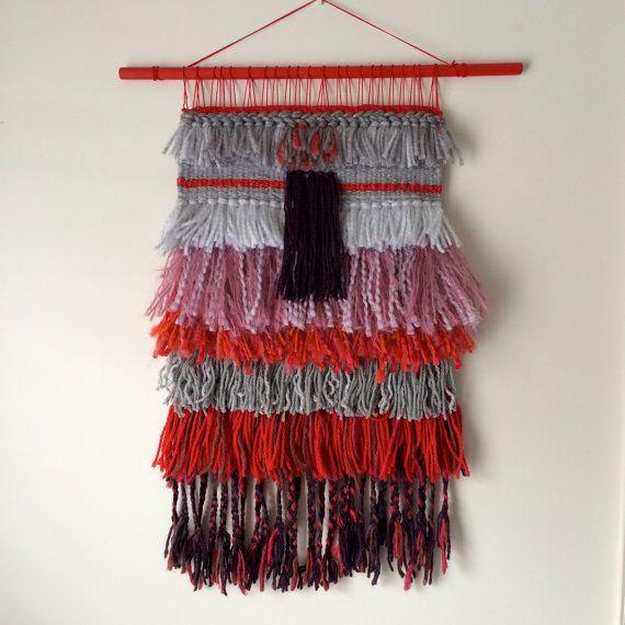 Hand woven wall hanging tapestry  weaving  by GeorgievaArtStudio