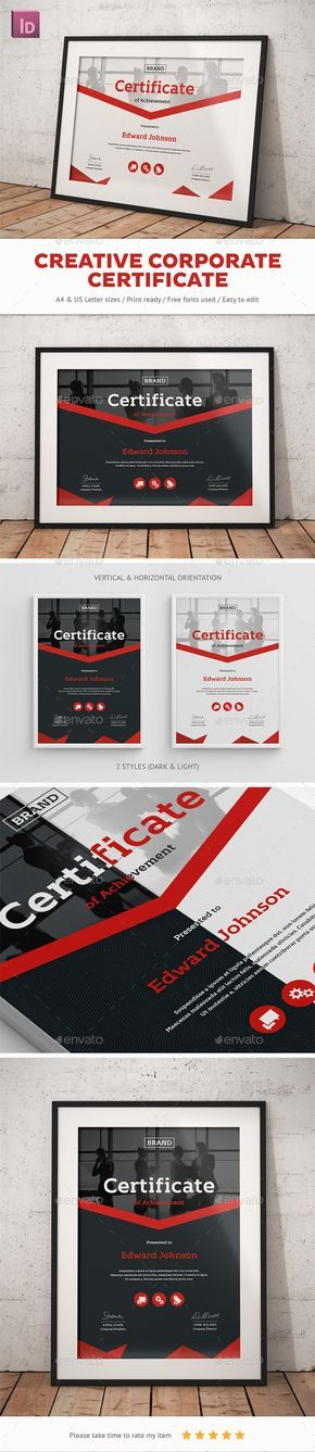 8 best certificate designs images on pinterest certificate design creative corporate certificate template indesign indd download here httpgraphicriver yelopaper Image collections