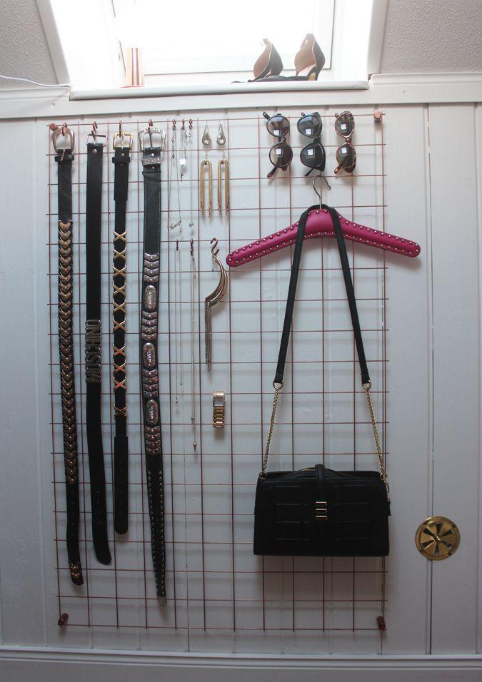 Accessories in walk-in-closet