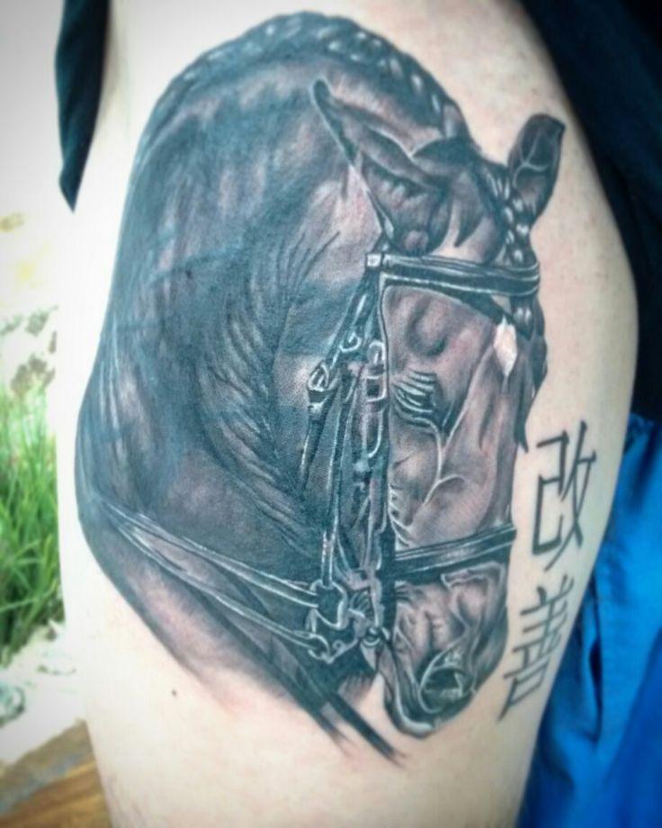 #horse #horsetattoo #caballo #realistictattoo #blackandgreytattoo
