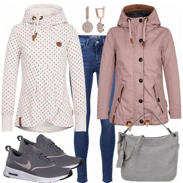 Freizeit Outfits: Anker bei FrauenOutfits.de Sportlicher Alltag Outfit #naketano #übergangsjacke #nike #sneaker sportlich