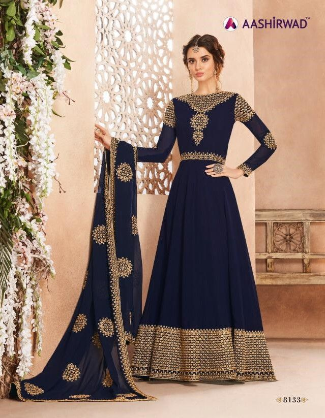 2e30986f08 Georgette Heavy Embroidery Work Anarkali Suit D.No 8133