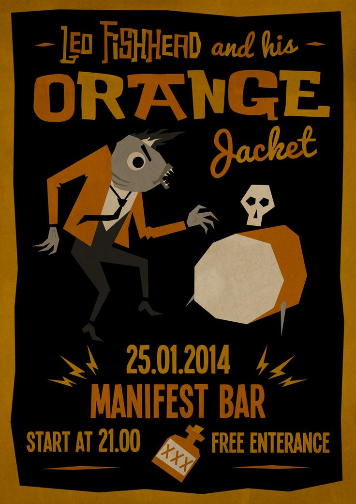 Leo Fishhead Оne Man Band Gig Poster Blues Trash Garage Psychobilly