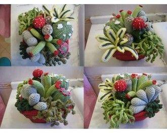 Amigurumi Cactus Tejido A Crochet Regalo Original : Como tejer fácil y rápido flores con hojas en una sola tira make