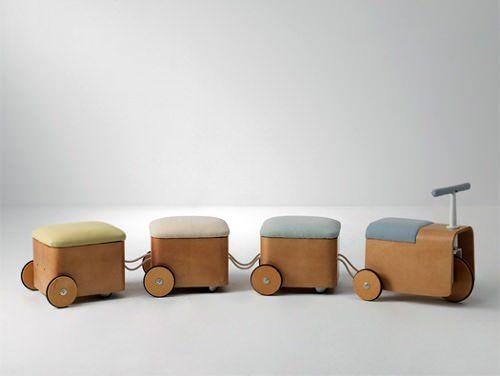 I love this train/seat/storage solution. What a fun idea. Gicha by kamkam