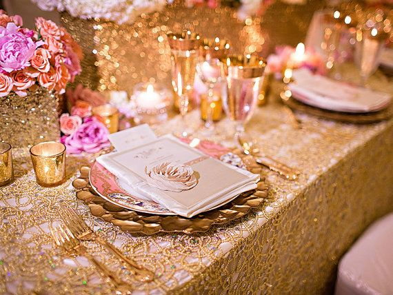 Chemical Lace Gold Sequin Table Cloth By Sparklesoiree