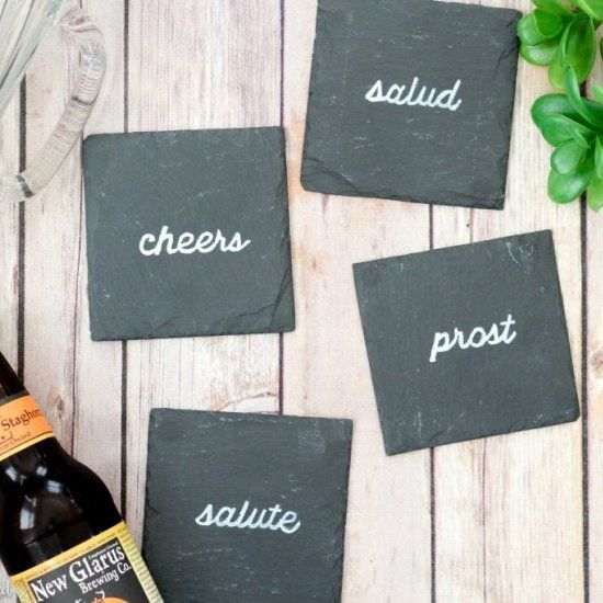 Personalize a set of slate coasters in ten minutes or less!  Also learn an easy text transfer technique that can be applied to any surface!