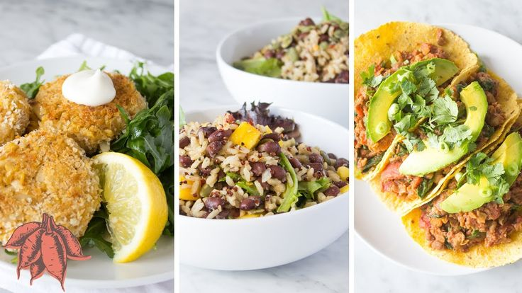 Damn Good Vegan Meals in UNDER 15 MINUTES | 3 Easy Vegan Recipes: Quinoa + black bean + mango salad; crab cakes; lentil + walnut tacos