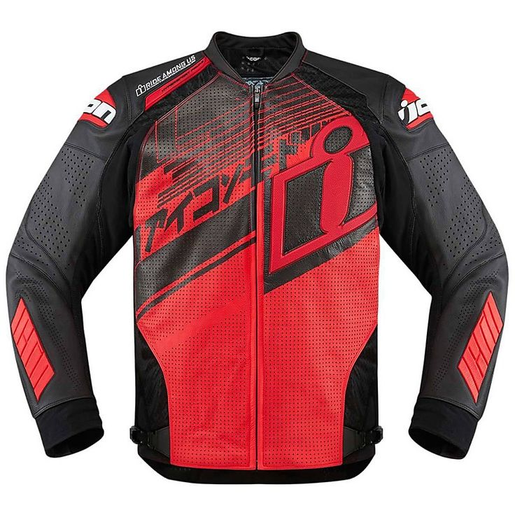 Motorcycle Leather Jacket Icon Technical Hypersport Prime Hero Black Red