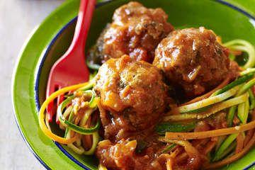Gluten-free 'spaghetti' and meatballs