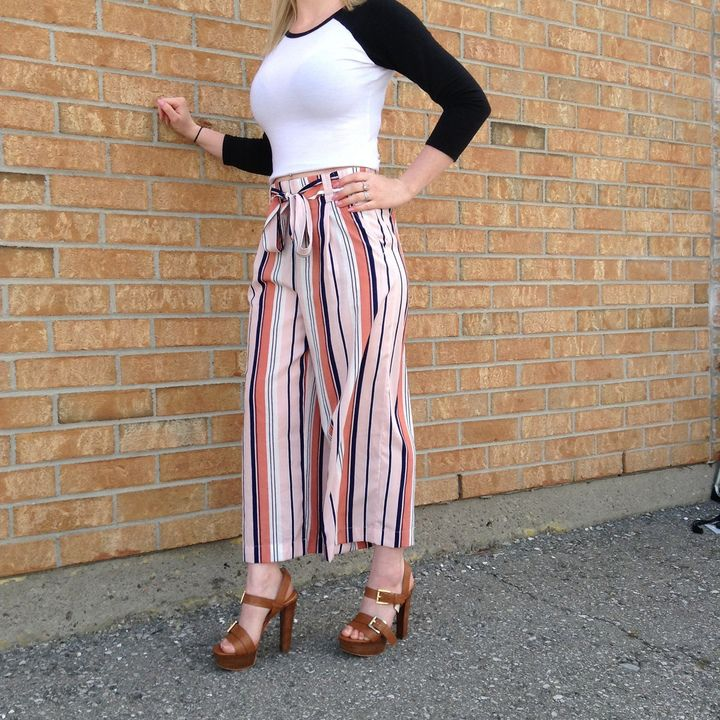 Check out this super fun summer outfit! This just proves that #stripes are here to stay & go with absolutely everything! #PlatosClosetNewmarket #fashionista #amazing // #Zara pants, SM, $16 // #MichaelKors heel, size 6.5, $35 //