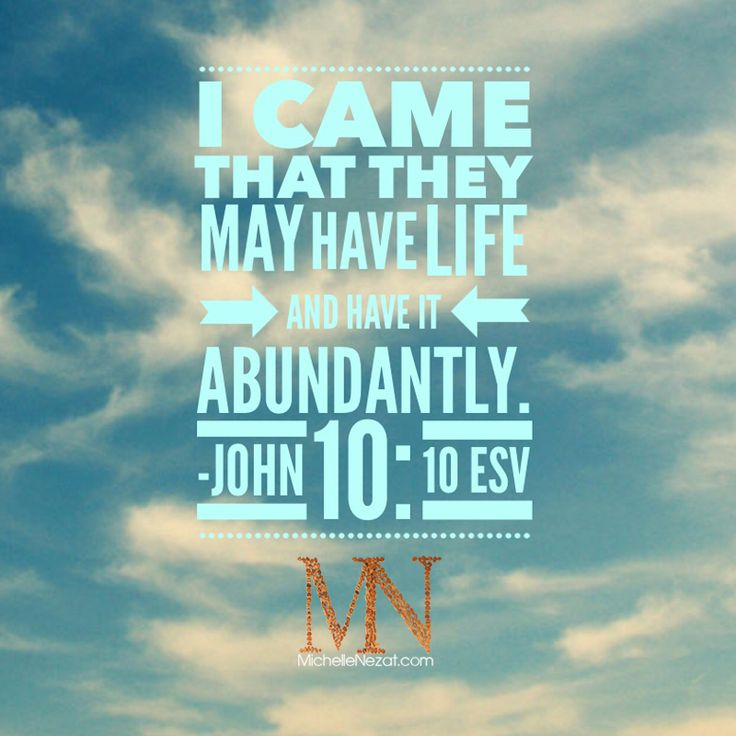 That they may have life abundantly. John 1010 Words