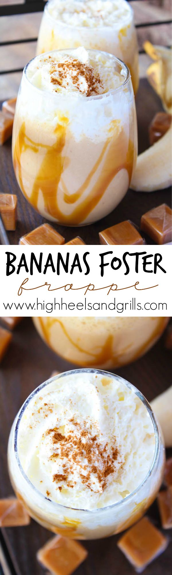 Bananas Foster Frappe - This is such a fun dessert recipe and makes it easy to be able to drink!