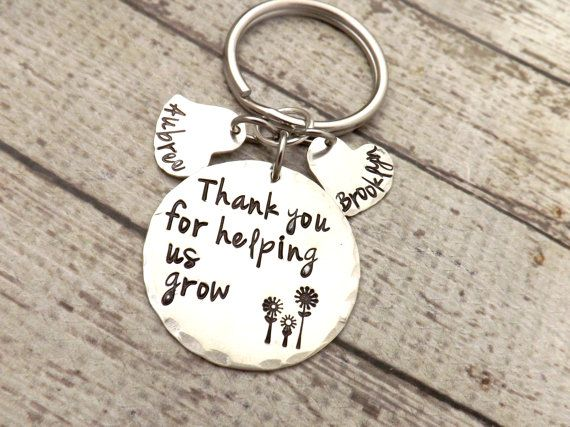 personalized key chain-nanny gift-thank you by mybeadedbutterfly
