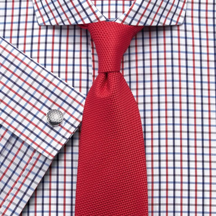 Blue and red multi check non-iron spread slim fit shirt | Men's dress shirts from Charles Tyrwhitt | CTShirts.com