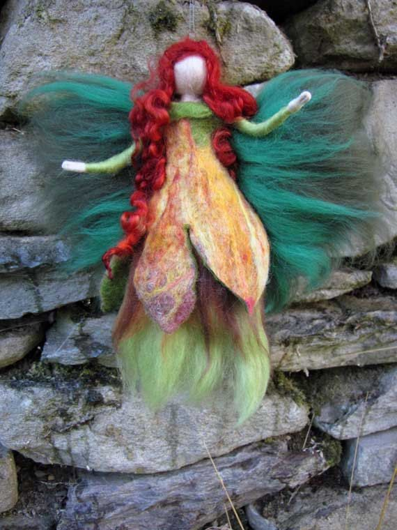 DEIRDR Needle Felted Wool fairy Irish nature by LivelySheep