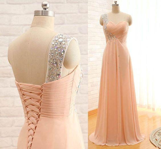 pink prom dress,chiffon Prom Dress,long prom dress,Cheap prom dress,bridesmaid dress, With beads prom dresses