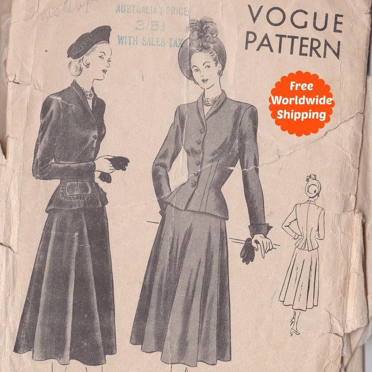 Sewing Patterns for Women Vintage 1940s Sewing Pattern Vintage Suit Pattern Skirt and Jacket Vogue 6158 Free Ship by PatternsFromOz on Etsy