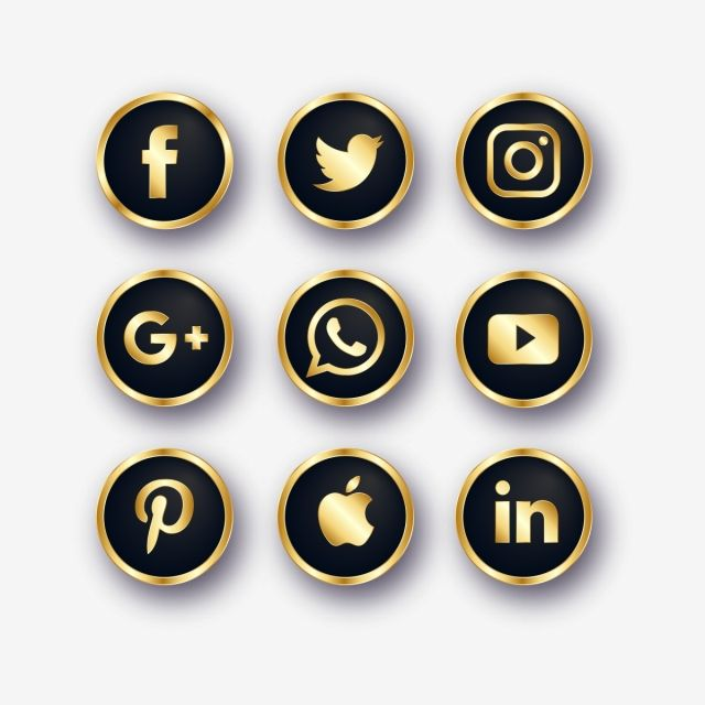 Golden Social Media Icons Social Media Icons Social Icons Media Icon