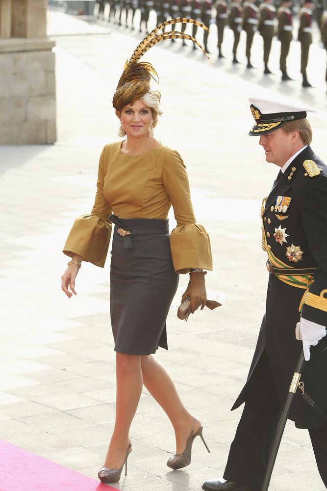 Princess Maxima. Love the sleeves and the plumage.