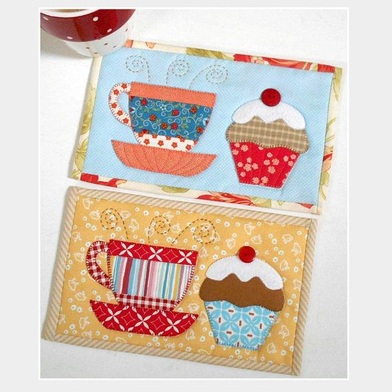 Tea and Cake Mug Rug pattern is available for immediate download via Etsy.