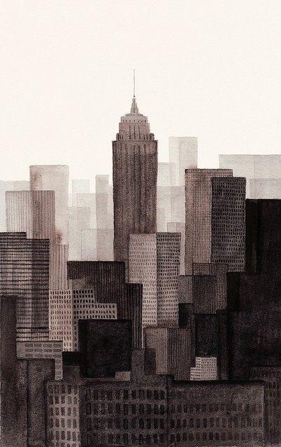 NYC! via Designbird. / nice geometric painting of buildings