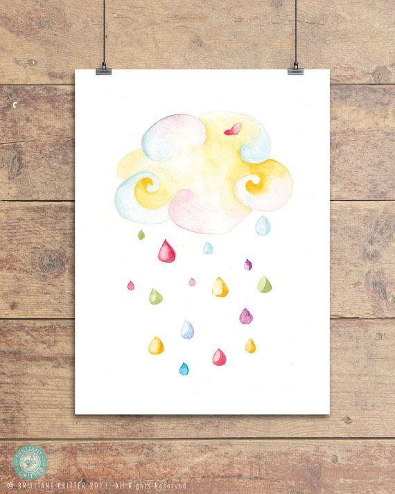 Rain Cloud Print - Colored Rain Cloud - Baby by BrilliantCritter