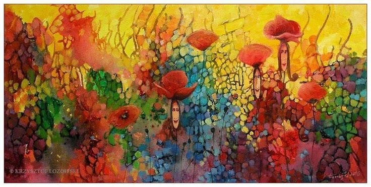 Poppies Ladies III / Maki acrylic on canvas 50x100cm Krzysztof Lozowski