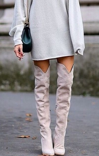 Over the knee boots are on trend this season.