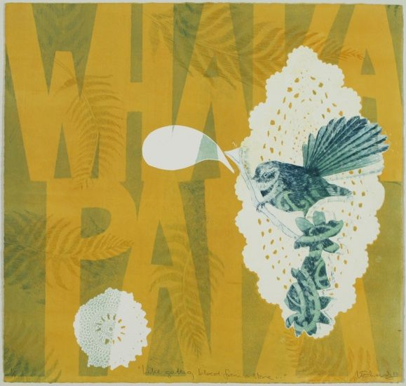 Vanessa Edwards, Like Getting Blood from a Stone, etching and monoprint on 340 x 355 mm paper, 1 of 1, 2010. NZ$290 incl GST.