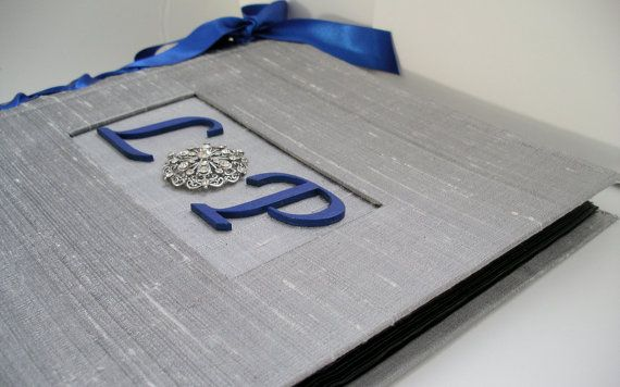 Wedding Guestbook w/Monogram, Vintage Rhinestone Brooch & Royal Blue Satin Ribbon by MichelleWorldesigns