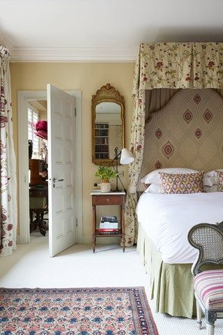 I have a similar mirror in the bedroom.  Kit Kemp  The fabric used for the bedhead and cushions in the bedroom are by Christine Van Der Hurd.   Taken from the July 2013 issue of House & Garden. Additional text: Dominic Bradbury.