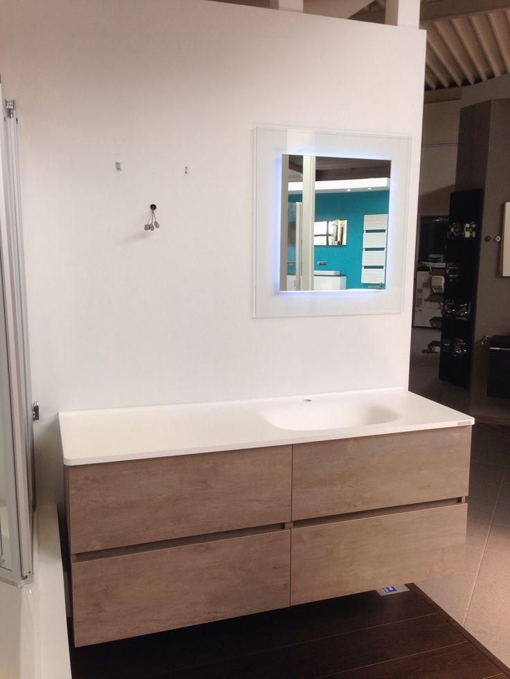 Badmeubel detremmerie flow wastafel kunstmarmer onderbouwkast no limit 150 x 62 x 50 cm - Deco badkamer meubels ...