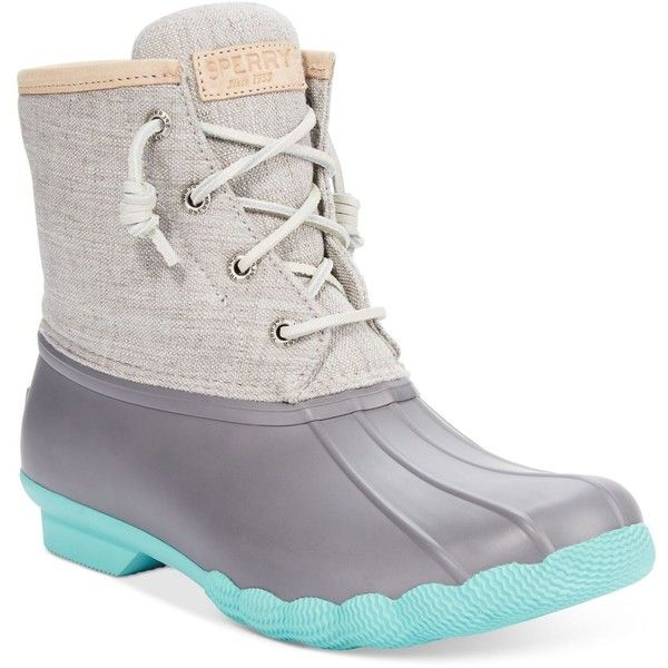 Sperry Women's Saltwater Duck Booties ($120) ❤ liked on Polyvore featuring shoes, boots, ankle booties, sperry, water proof boots, waterproof boots, waterproof booties and sperry boots