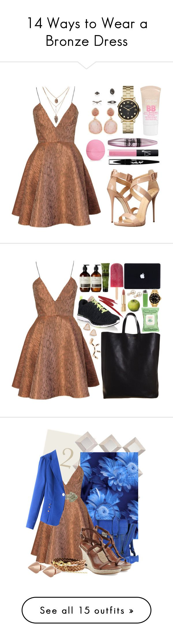 """""""14 Ways to Wear a Bronze Dress"""" by polyvore-editorial ❤ liked on Polyvore featuring waystowear, bronzedress, Joana Almagro, Giuseppe Zanotti, Marc by Marc Jacobs, Monica Vinader, Maybelline, NARS Cosmetics, Eos and Athletic Propulsion Labs"""
