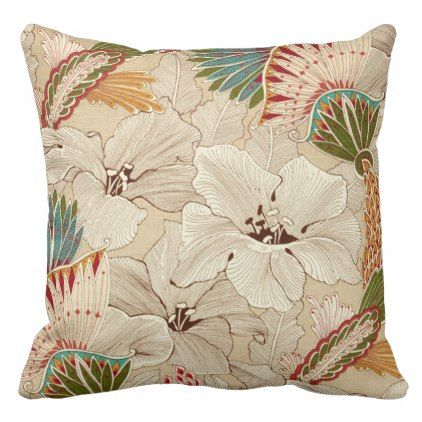 7 Floral Pastel Flowers of Turq/Cream/Orange/Red Throw Pillow - flower print gifts floral idea giftideas