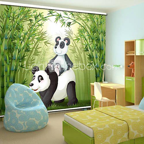 estilo encantador de la historieta de la panda padre&panda bebé con persiana de bambú 1766133 2016 – €44.09