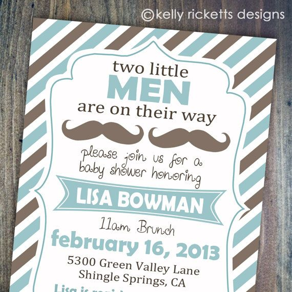 Twin Boy Mustache Shower - Blue & Brown - Baby Shower Invitations - Digital Printable File