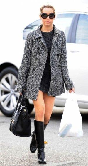 Ashley Tisdale wearing Christian Louboutin Cate Chain Biker Boot ...