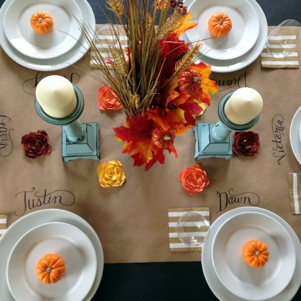 Easy Kraft Paper Thanksgiving Table Runner