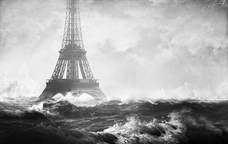 Эйфелева башня, апокалиптический, цифровое искусство, наводнение, оттенки серого