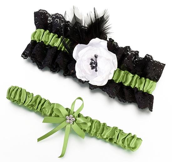 Green Black Wedding Garter Set