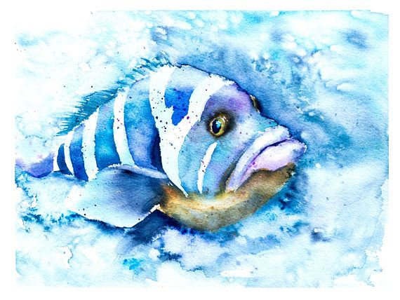 Tropical Fish Art Print Watercolor Painting Artwork Fish In