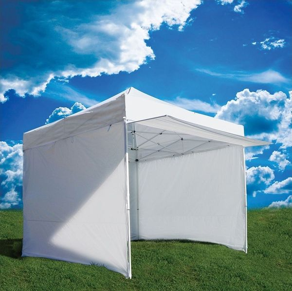 Z-Shade 10' x 10' Commercial Canopy Tent Package + 4 Sidewalls and NEW Extras- smaller kitchen, easier set up- still needs heavy duty tie downs.