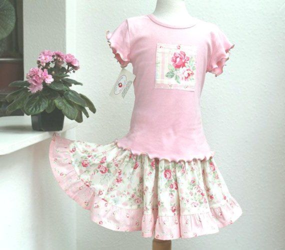 Pink Rose Girls Floral Outfit, Easter Girl Clothes, Tiered Twirl Skirt & Top Set, Size 2T 3T …