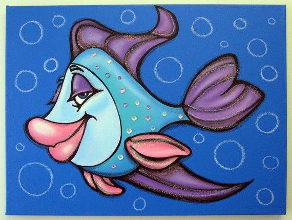 OLiVia FiSH - pintura en lienzo para que childs sala o dormitorio, envío gratis…